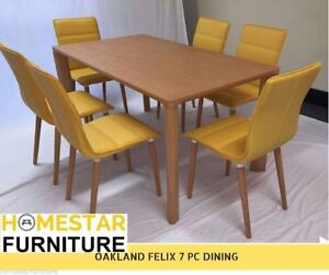Oakland Felix 7PC Dining Table with 6 Yellow Chair Hurstville Hurstville Area Preview