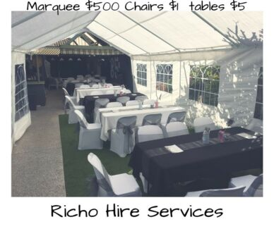 Event function hire. Tables, chairs. Marquee more.