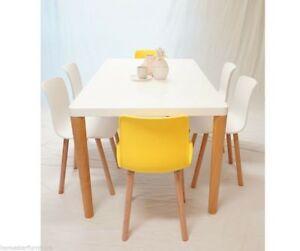 Felix Heme 7PC Dining Set with 6 Yellow/White/Orange Chairs Hurstville Hurstville Area Preview