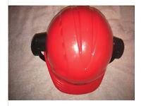 JSP Red Work Safety Helmet with Ear Defenders