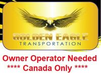 Owner Operator needed for Canada only & CAN/US drivers.
