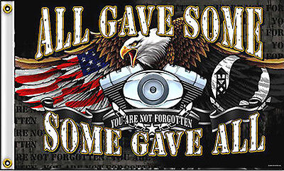 ALL GAVE SOME - SOME GAVE ALL POW MIA MILITARY FLAG wall poster #419 3 X 5 eagle