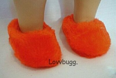 """Lovvbugg Red Fuzzy Slippers for 18"""" American Girl and Bitty Baby Doll Shoes"""