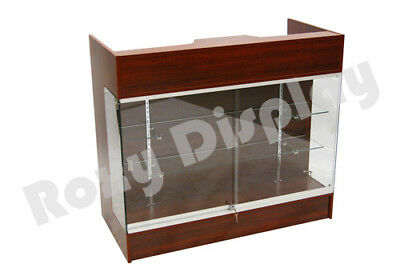 Cherry Ledgetop Counter Display Showcase Store Fixture Knock Down Sc-ltc-gl4c