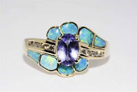 14K GOLD RING / TANZANITE WITH OPAL & DIAMOND ACCENTS