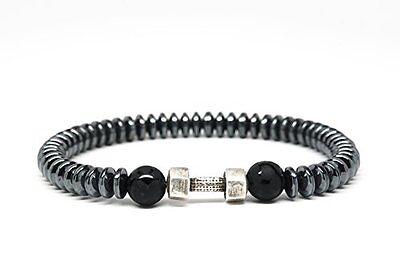 Black Onyx and Hematite Beaded Mens Bracelet with Dumbbell-DT125