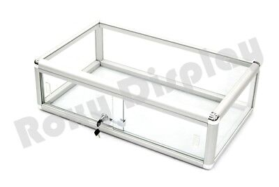 - Glass Countertop Display Case Store Fixture Showcase with front lock #SC-KDFLAT