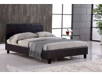 GUARANTEED DOUBLE LEATHER BEDS WITH MATRRESS AVAILABLE IN BLACK OR BROWN COLOR