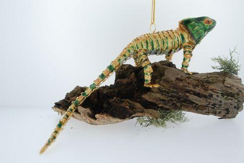 "Kubla Articulated ""Gold-Green"" Chameleon. Reptile. Lizard.  4148gr"