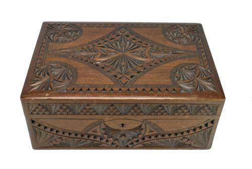 Carved wood jewelry box ebay for How to carve a wooden ring