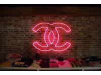 "14""x10"" Real Glass Neon Light Sign Vintage Chanel Logo Designer Wardrobe Art UK"