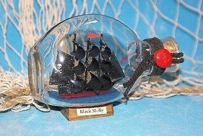 Buddelschiff Piratenschiff Black Molly ca. 12x8cm Flaschenschiff maritime Deko