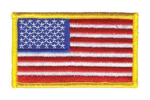HEROS PRIDE 0001HP American Flag U.S. Embroidered Patch Sew Medium Gold Border