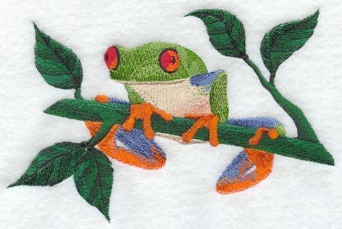 Embroidered Ladies Short-Sleeved T-Shirt - Tree Frog M1939 Size S - XXL