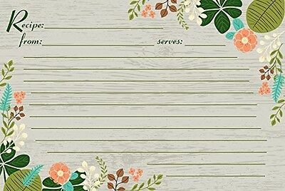 Recipe Card Set of 25 4 x 6 new cards, Vintage Flowers, Meadowsweet Kitchens