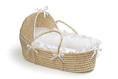 Badger Basket Hooded Moses Basket Crib w/ Bedding Baby Nursery Furniture New