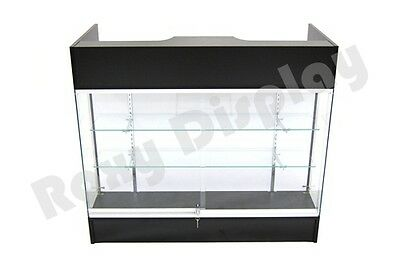Black Ledgetop Counter Display Showcase Store Fixture Knock Down Sc-ltc-gl4bk