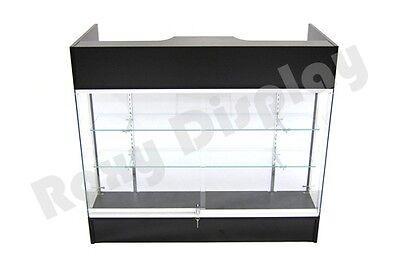 Black Ledgetop Counter Display Showcase Store Fixture Knock Down Sc-ltc-gl4bk