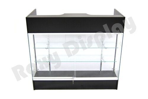 Black Ledgetop Counter Display Showcase Store Fixture Knock Down #SC-LTC-GL4BK