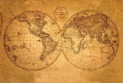 Old World Laminated Map Antique Educational Poster