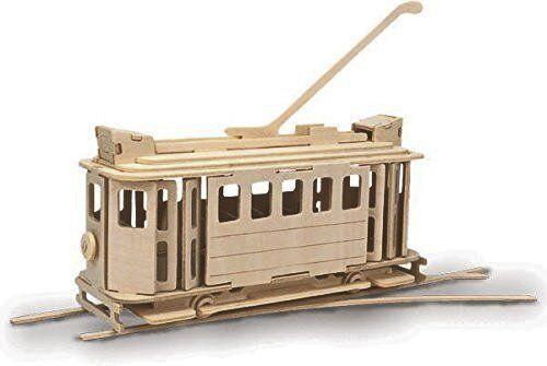 Tram: Woodcraft Quay Electric Tram Construction Wooden 3D Model Kit P306 Age 7 p