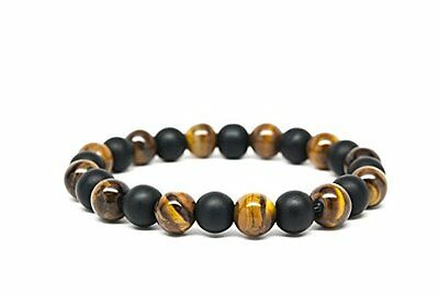 Matt Black Onyx and Tigers Eye Beaded Mens Bracelet-DT101