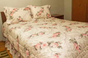 Queen Rose Comforter complete with Shams and Curtains