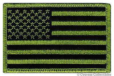 AMERICAN FLAG EMBROIDERED PATCH iron-on US CAMO GREEN SUBDUED SHOULDER USA new