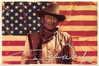 John Wayne   American Flag Poster   24X36 Cowboy Movie Duke Us 241251