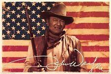 JOHN WAYNE - AMERICAN FLAG POSTER - 24x36 COWBOY MOVIE DUKE US 241251