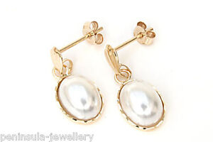 9ct Gold PEARL Oval Drop earrings MADE in ENGLAND Gift Boxed