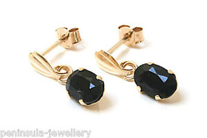 NEW 9ct Gold SAPPHIRE oval drop Earrings, Gift Boxed MADE in ENGLAND