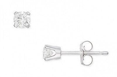 Genuine Diamond Round Stud Earrings ~14k White gold plate ~ Gift box