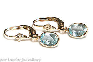 9ct GOLD BLUE TOPAZ Lever Back Earrings GIFT BOXED Made in England