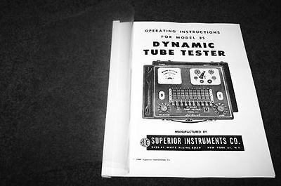 Superior 85 Dynamic Tube Tester Operation Manual And Tube Charts Reprint