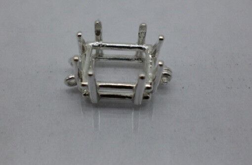 6x4mm - 10x8mm Emerald Pre-Notched Sterling Silver Bracelet Link Settings