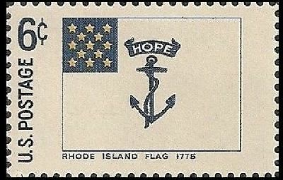 US 1349 HISTORIC FLAGS RHODE ISLAND FLAG 1775 6C SINGLE MNH 1968