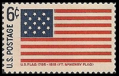 US 1346 HISTORIC FLAGS FORT MCHENRY FLAG 1795-1818 6C SINGLE MNH 1968