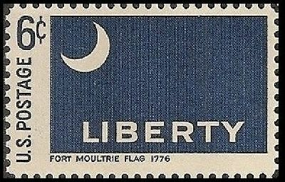 US 1345 HISTORIC FLAGS FORT MOULTRIE FLAG 1776 6C SINGLE MNH 1968
