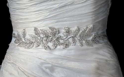 Ivory Floral Leaf Vine Bridal Ribbon Sash Belt w/ Silver Bugle Beads Rhinestones