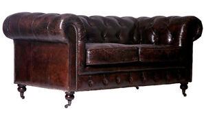 echtleder chesterfield sofa 3er leder braun ledersofa ebay. Black Bedroom Furniture Sets. Home Design Ideas