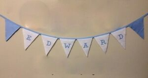 Blue & White Personalised Fabric Bunting Birthday Christening Party Decoration