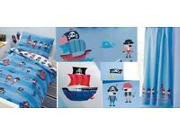 Next Pirate toddler bedding set with curtains, light shade and stickers