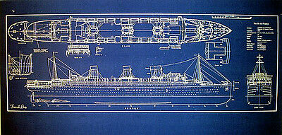 Vintage French Liner SS Ile de France 1927 Blueprint display 14x34 (281)