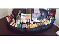 bulk lot of perfumes and aftershaves bubble baths shower gels hair care ect