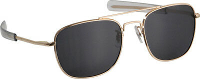 Humvee Military Pilot Sunglasses Matte finish gold frames. Heavy metal frame. Bl
