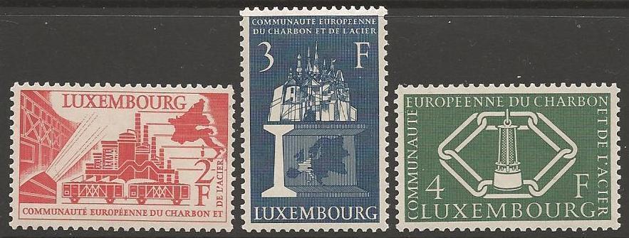 LUXEMBOURG SG606/8 1956 EUROPEAN COAL & STEEL COMMUNITY MNH