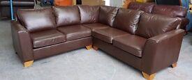 Marks&Spencer's Large Brown Leather Corner Sofa.WE DELIVER