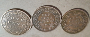 3 very old Canadian Pennies 1908 and 1918