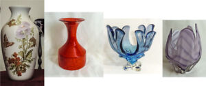 CRYSTAL, PORCELAINE, CERAMIC VASES